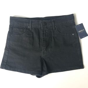 Forever 21 Demin Black Shorts. NWT. Size 26